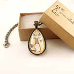 Kitty Cat Necklace (Watercolor Painting) by cellsdividing