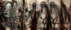Death behind the mask Half sleve tattoo by TimHag