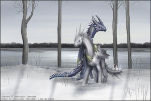 Snow scene with dragons. by Isdrake