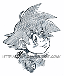 Kid Goku Bust Ink by GH07