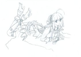 Fate Extra CCC Saber Bride Sketch by Tyronesc