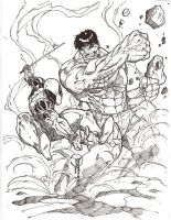 Dead Pool and Hulk inked by JoeyVazquez