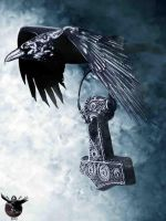 Raven with Thors hammer by thecasperart