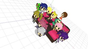 The Vocaloid gang on the bed. by MomoHinamoru