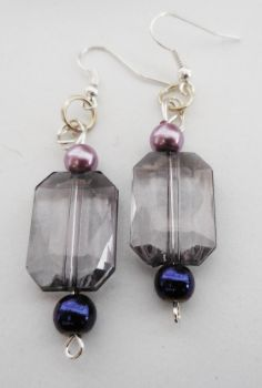 Purple Rectangular Earrings by crystalcorgiboutique