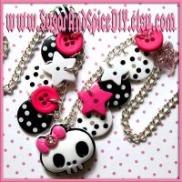 Punky Skull Button Necklace by SugarAndSpiceDIY