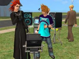 Axel and Roxas Sims Kareoke by the-soup