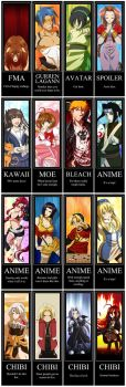Anime Bookmark Collection by Shira-chan