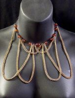 Amber and Gold Chain Collar by MorganCrone