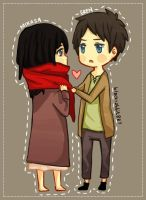 SnK: Eren and Mikasa by baenana