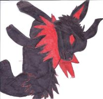 Black and red Jolteon by DemiKaiVisions