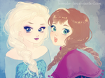 FROZEN - Anna and Elsa by lavender-tan
