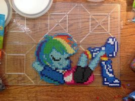 Equestria Girls Rainbow Dash Perler by OddishPonyGirl