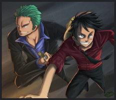 Luffy et zorro by Kasukiii