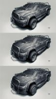 Postapo cars - Pickup-jeep by hunterkiller