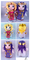 Princess Zelda and Hilda Plushies by Dizzie-Dog