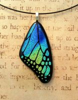 Blue Yellow Green Mix Fused Glass Butterfly Wing by FusedElegance