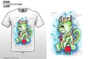 water monster - white T-shirt by MiKeiLo