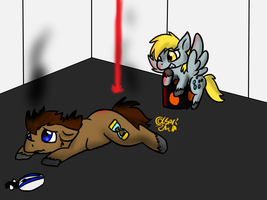 Derpy and the Doctor Play Portal 2 by Usagi-Zakura
