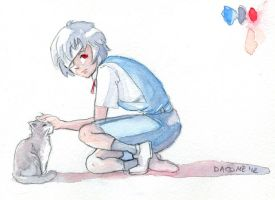 Rei and the cat by Dera-Moui