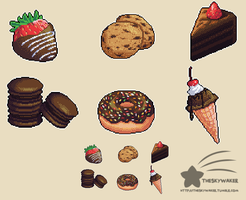 Pixel Chocolate Desserts by theskywaker