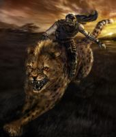 Ninja on a Cheetah with Mohawk by ReBeLKiMy