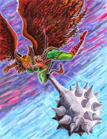 HawkGirl Mace Attack by KwongBee-Arts