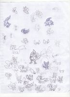 Sketches fakemon by fer-gon