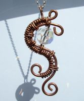 copper chinease dragon pendant by crystalpanther2