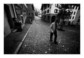 street, turn and cobblestone by SimonSawSunlight