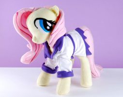 Fluttershy Plushie with Spa Robe by Eveningarwen