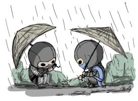 Ninjas in the rain by zetsumeininja