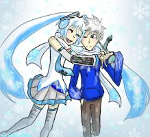 Snow Miku X Jack Frost by HezuNeutral