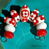 Ode to Kanzashi Lampwork Beads by copperrein