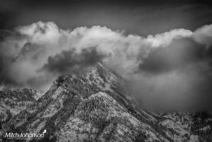 Touch of Sun on Snow BW by mjohanson