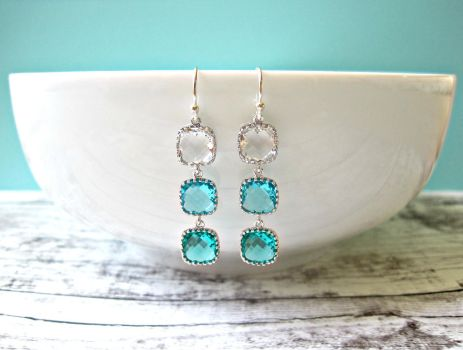Aqua Ombre Sterling Silver Earrings by SparkleMeHappy