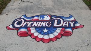 Opening Day Baseball Chalk Art by charfade