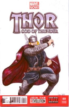 Thor Sketch Card Cover by LauraInglis