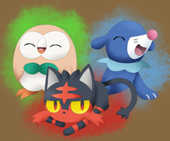 Sun and Moon Starters by JapariCafe