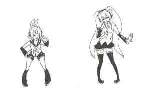 Miku and Rin Coloring Page by StacheRabbit