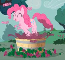 Pinkie Pie Stomping Grapes FiM by Nimaru