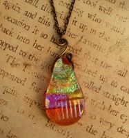 Honey Drop Fused Glass Necklace by FusedElegance