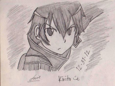 SAO-Kirito (close up sketch) by janesmee