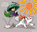 okami_chibi issun and ammy by blackwinged-neotu