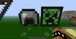 Minecraft Pixel Art Creeper Head And Helmet by REV3LATIONS