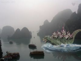 Misty Ha Long Bay by WoGzilla