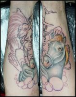 monthy python witch and duck tattoo by smelther