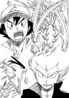 Ash VS Lance - Sceptile VS Gyarados by Rohanite