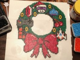 Christmas Wreath - Hama by murderdollsqueen