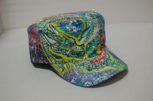 Custom Painted Koi, Dragon, City, Painter's Hat. by ginseng